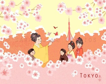 Children's Wall Art Print - Tokyo - Kids Nursery Room Decor