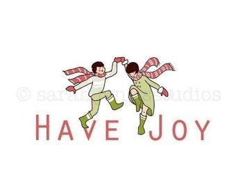 Children's Wall Art Print - Have Joy - Kids Nursery Winter Holiday Decor