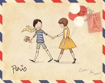 Children's Wall Art Print - Paris - Boy & Girl Kids Nursery Room Decor