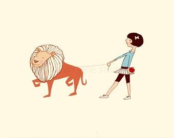Children's Wall Art Print - Take Me For A Walk (Girl) - Girl Kids Nursery Room Decor