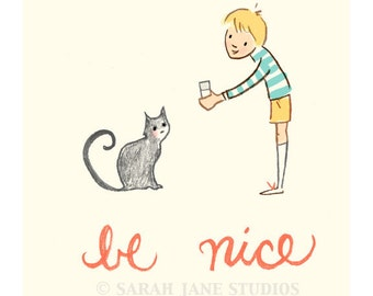 Children's Wall Art Print - Be Nice - Boy Kids Nursery Room Decor