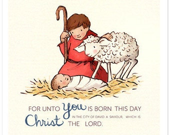 Children's Wall Art Print - For Unto You - Holiday Kids Nursery Room Decor