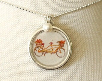Necklace - Going Tandem - With Pearl Charm