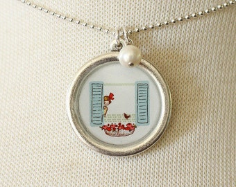Necklace - Hello Bird - With Pearl Charm