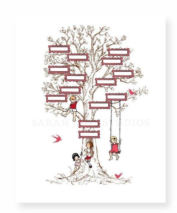 Kinder wand kunstdruck stammbaum pink 11 x 14 kinder for Stammbaum zum ausdrucken