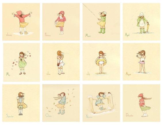 Children's Wall Art Prints - Her Month by Month SET (12 - 8x8s) - Girl Kids Nursery Room Decor