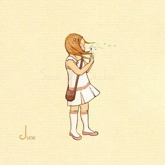 Children's Wall Art Print - June's White Dandelion - 8x8 - Girl Kids Nursery Room Decor