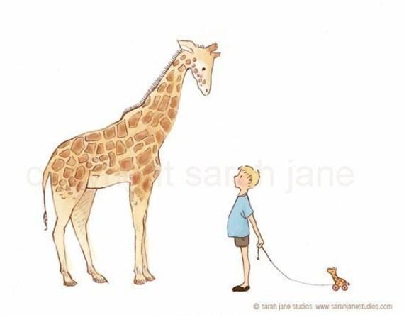 Children's Wall Art Print - Giraffe - Boy Kids Nursery Room Decor