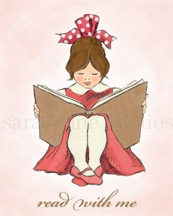 Children's Wall Art Print - Read With Me (Pink B) - Girl Kids Nursery Room Decor
