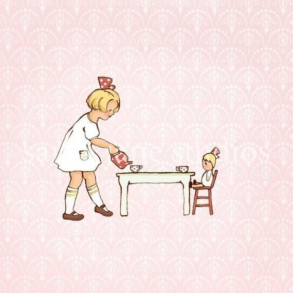 Children's Wall Art Print - Addie's Tea Party - Girl Kids Nursery Room Decor