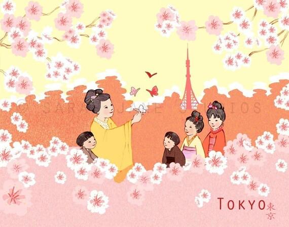 Children's Wall Art Print - Tokyo - Kids Nursery Room Decor