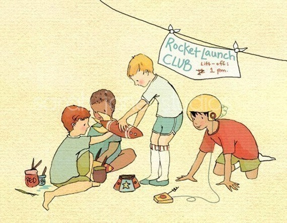 Children's Wall Art Print - Rocket Launch Club - Boy Kids Nursery Room Decor