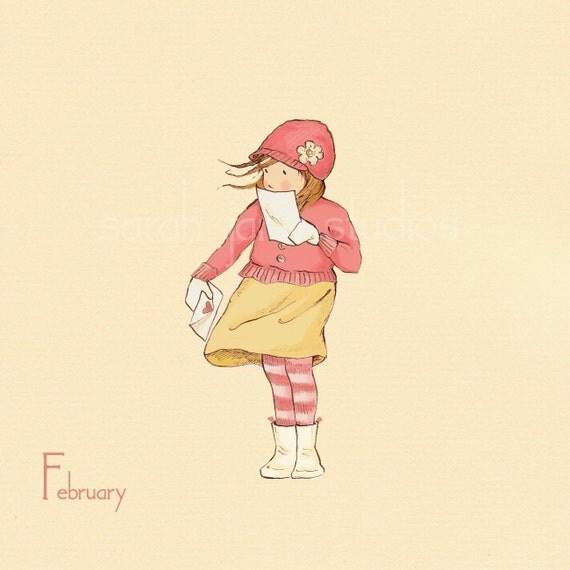 Children's Wall Art Print - February In Writing - 8x8 - Girl Kids Nursery Room Decor