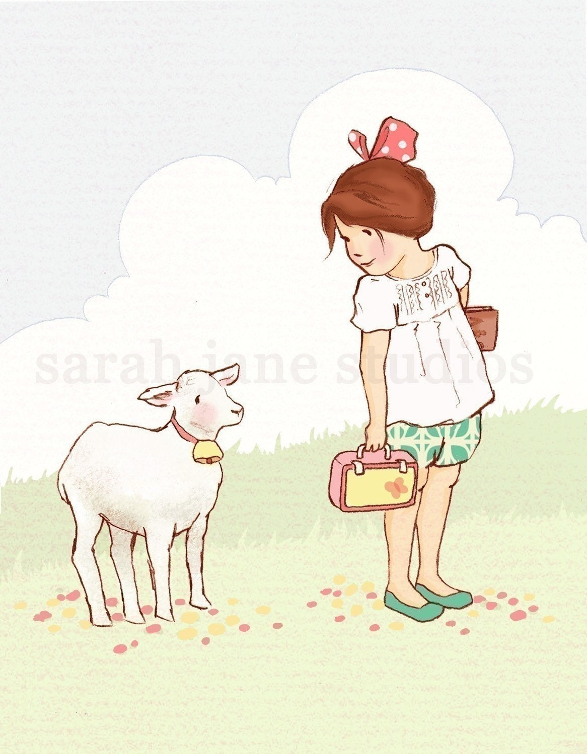 Childrens Wall Art Print My Little Lamb Girl Kids