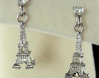 Dainty Swarovski Crystal 3D Eiffel Tower Paris France Honeymoon Pendant Charm Post Earrings