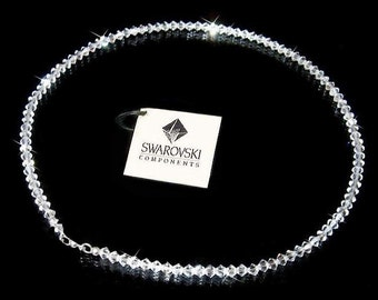 Simple Clear Swarovski Crystal Sterling Silver Necklace