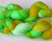 BunkyToes Hand Dyed Sock Yarn-- Lemon\/Lime Snowcone
