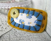 RESERVED FOR MICHELLE Pretty, Vintage Inspired Hair clip - Goldenrod and Country Blue - Shabby Chic, Lace, Felt, hand sewn, Snap Clip