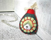 Birdhouse Necklace, Felt and Fabric pendant, Sage and Red, Garden Chic, Jewelry