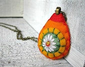 RESERVED FOR COURTNEY Flower Daisy necklace, Felt and Fabric Pendant, Bright Orange and Green, Summer Jewelry
