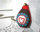 Embroidered Heart Necklace - Felt and Fabric pendant - Brown, Red and Blue - Mothers, Wife, Girlfriend - Gifts under 30