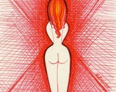 REDDER THAN RED    ORIGINAL drawing of rear view of REDHEAD female nude in