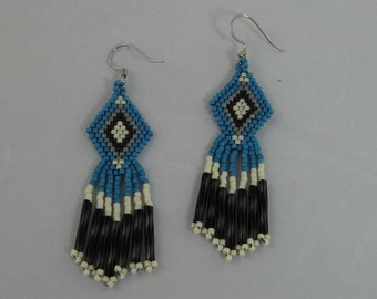 Diamond Shaped Native American Earrings, brick stitched earrings, dangle earrings, blue white earrings, beaded earrings, southwest earrings