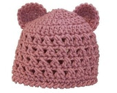 Crochet PATTERN for Teddy Bear Beanie in PDF Format - Instructions for Newborn thru Pre-Teen- Number 108
