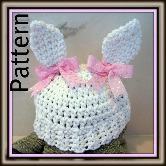 Crochet PATTERN for Bunny Ears Beanie in PDF Format - Instructions for Newborn thru Pre-Schooler - number 109