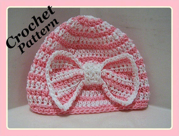 Crochet PATTERN for Beautiful Beanie with Big Bow in PDF Format - Number 107