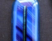 Blue and purple stripes dichroic glass necklace