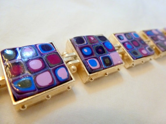 Blue purple lavender polymer clay squares and circles bracelet