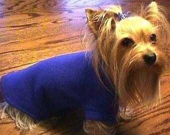 ROYAL BLUE Fleece Dog Coat/Sweater Yorkie  (xxxs-xxs-xs-s-m-l)