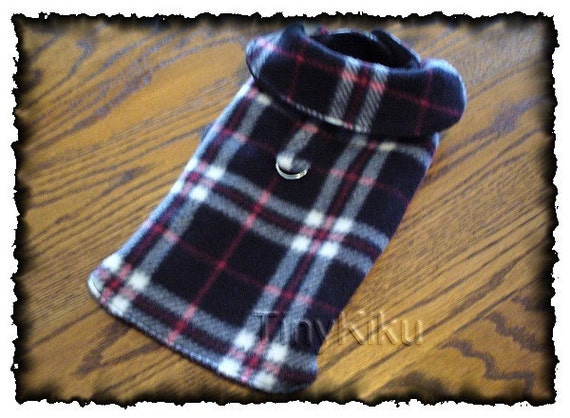 Choose Any Color Plaid Dog Sweater Coat By Tinykikudogapparel
