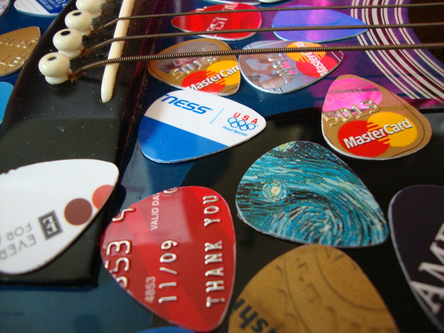 sale 10 recycled guitar picks by refresh on etsy. Black Bedroom Furniture Sets. Home Design Ideas