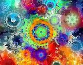 UNIQUE Original Silk Fabric Panel Fiber Art Cosmos Kaleidoscope