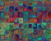 Textile Artist Created UNIQUE Cotton Fabric By The Yard Patchwork Square Fiber Art