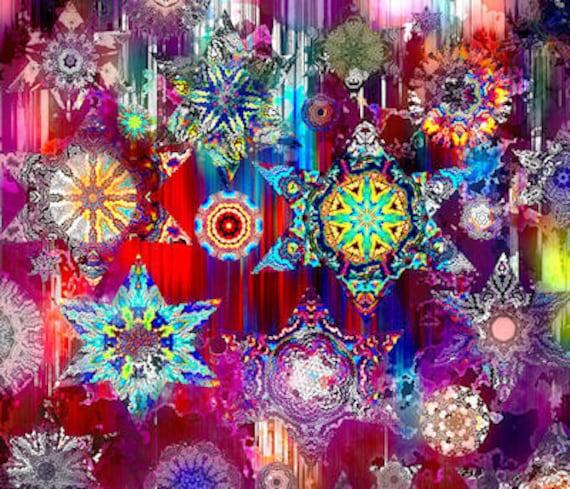 Artist Made FQ Panel Plum Kaleidoscope Fiber Art Quilting Fabric