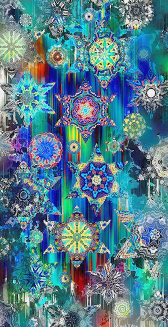 Artist Made Large Panel Star Blue Sky Cosmos Kaleidoscope Fiber Art Fabric