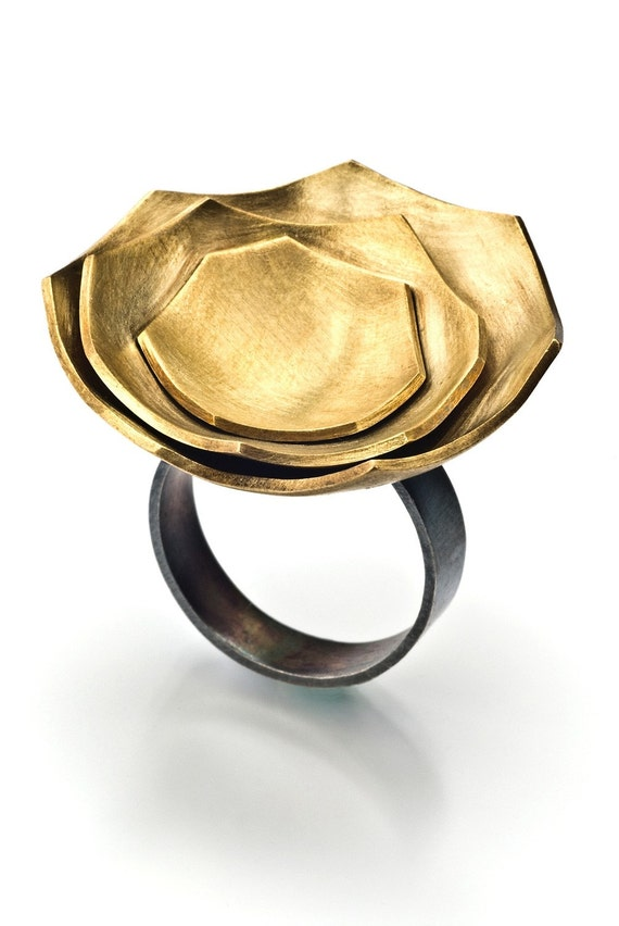 Brass and silver eggshell geometric cocktail ring