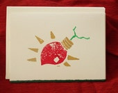 Lino cut holiday cards - Lights