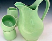 Spring Green Belly Pitcher and 4 Cups