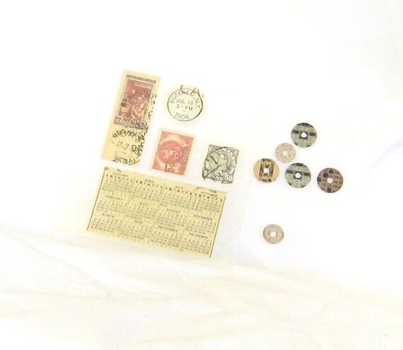 Stickers, postal, stamps, postmarks, coins, variety, C, destash
