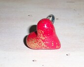 3D Heart ring with Gold Crackle - Adjustable Ring, heart ring, love ring, polymer clay heart, 3D heart, Valentine's day ring