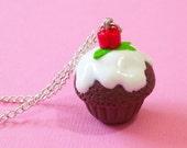 Rose Cupcake Pendant, romantic cupcake pendant, polymer clay cupcake, cupcake jewelry, cupcake necklace, valentine's day cupcake