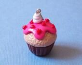 Hearts Cupcake Pendant, polymer clay Cupcake Pendant, miniature Cupcake Pendant, valentine's day cupcake, cupcake lovers