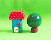 Mini Movable village - set E (House, Tree)