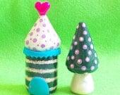 Mini Movable village - set G (House, Tree), miniature house, clay house, miniature tree, miniature clay house, miniature clay tree