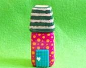 Mini Movable House - G, polymer clay house, polymer clay home, home decor, sculpture house, miniature house, mini house