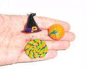 3X Halloween Pendant, Halloween Charm, witch hat charm, witch hat pendant, Halloween lollipop pendant, pumpkin pendant, clay pumpkin charm